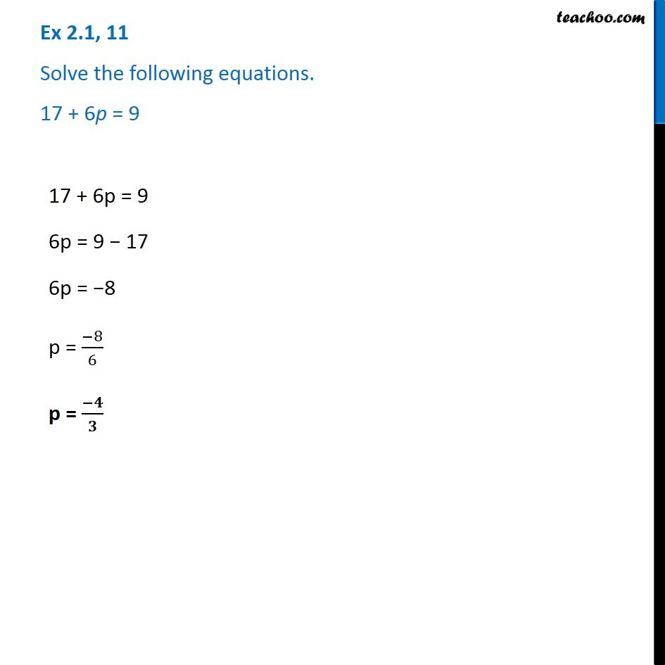 Ex 2.1, 11 - Solve 17 + 6p = 9 - Chapter 2 Class 8 - Teachoo