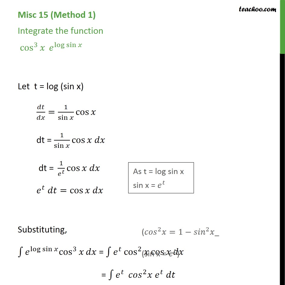 Misc 15 - Integrate cos3 x elog sinx - Chapter 7 NCERT - Miscellaneous