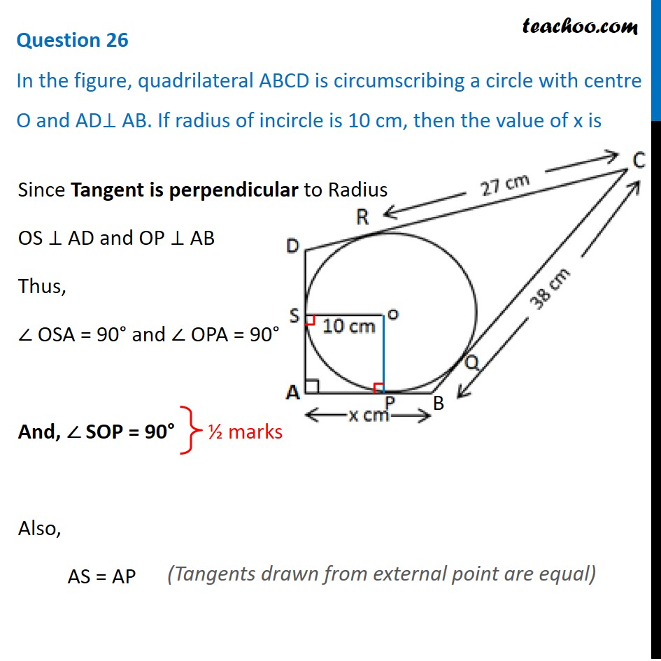 In figure, quadrilateral ABCD is circumscribing a circle with centre O