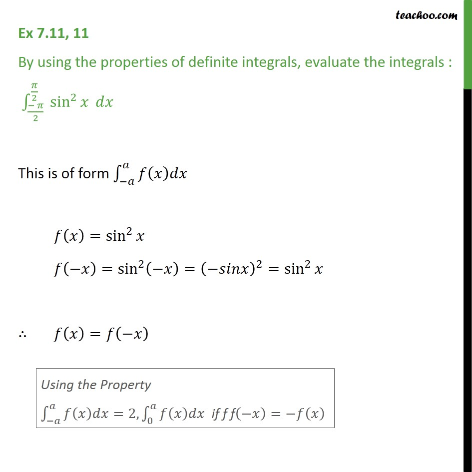 Ex 7.11, 11 - Evaluate definite integral sin2 x dx - Definate Integration by properties - P7