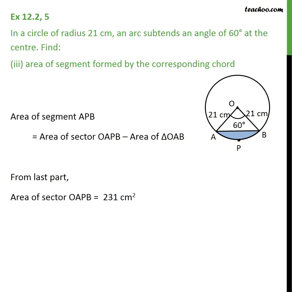 Ex 12.2, 5 - Chapter 12 Class 10 Areas related to Circles - Part 3