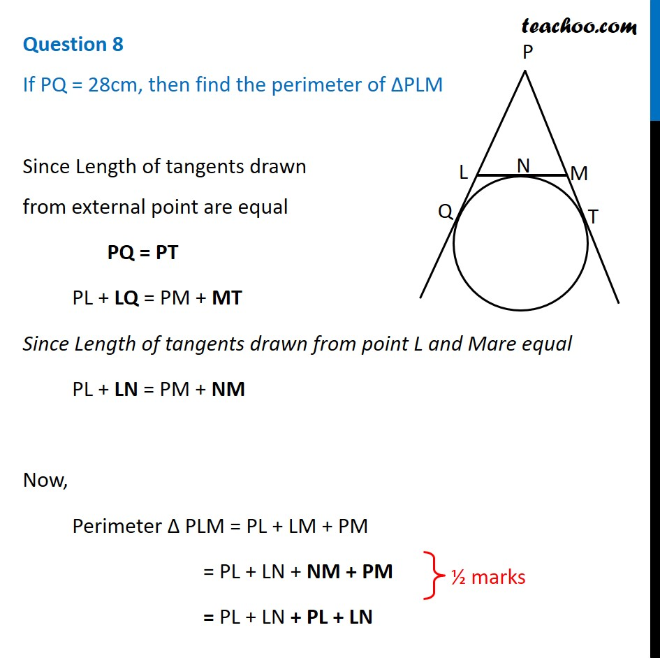 If PQ=28cm, then find the perimeter of ∆PLM - CBSE Class 10 Sample Pap