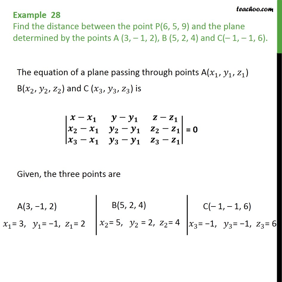 Example 28 - Find distance between point P(6, 5, 9) and plane - Examples