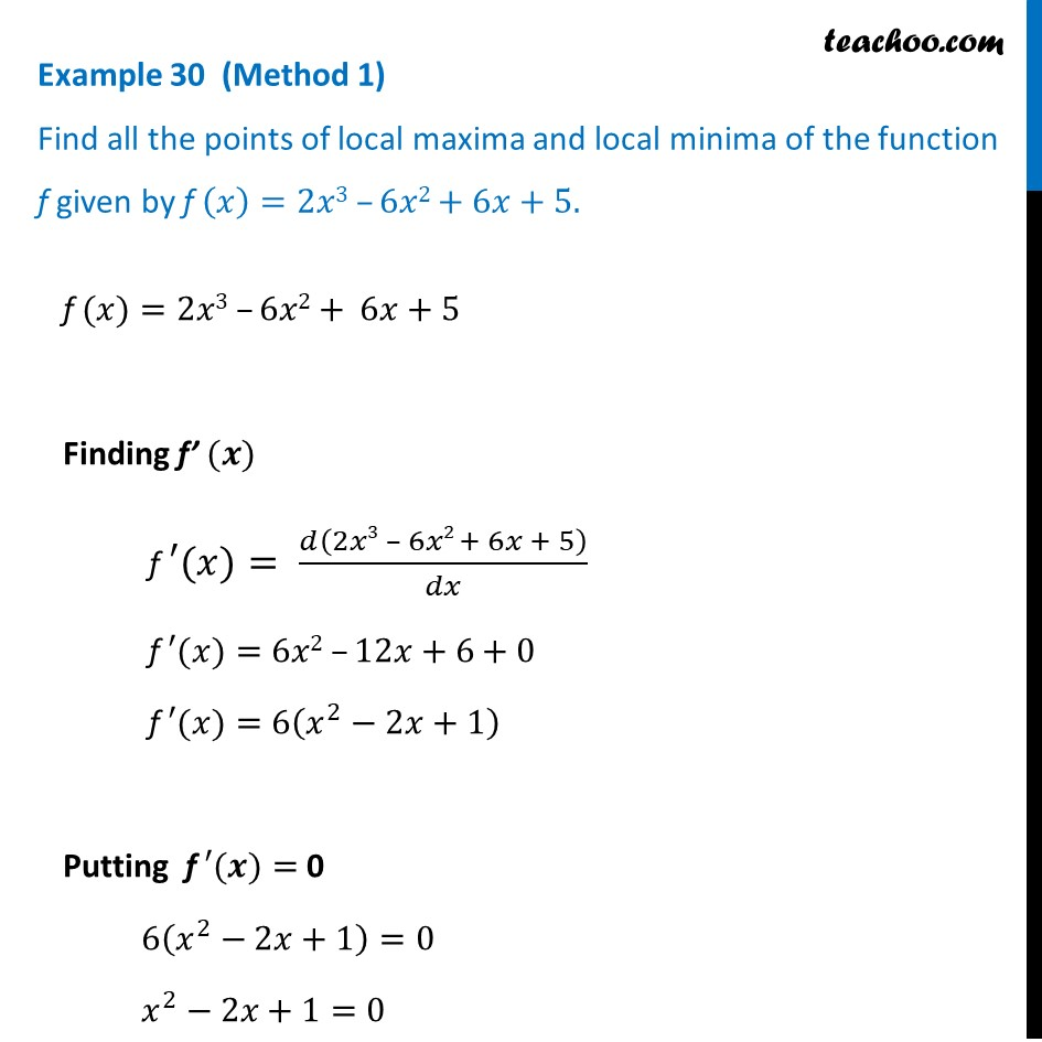 Example 30 - Find all points of local maxima, minima - CBSE