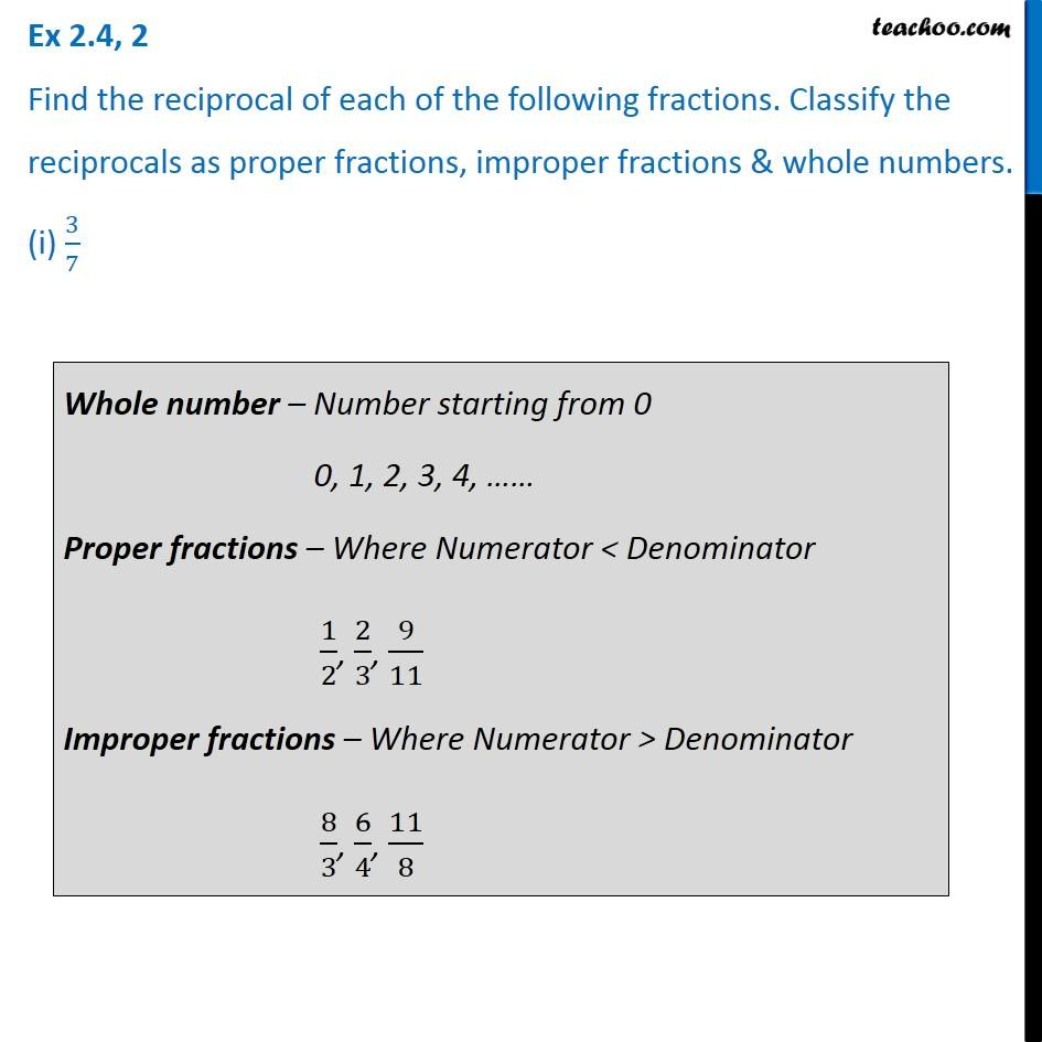 ex 2.4, 2 - find the reciprocal of each of the following fractions cle
