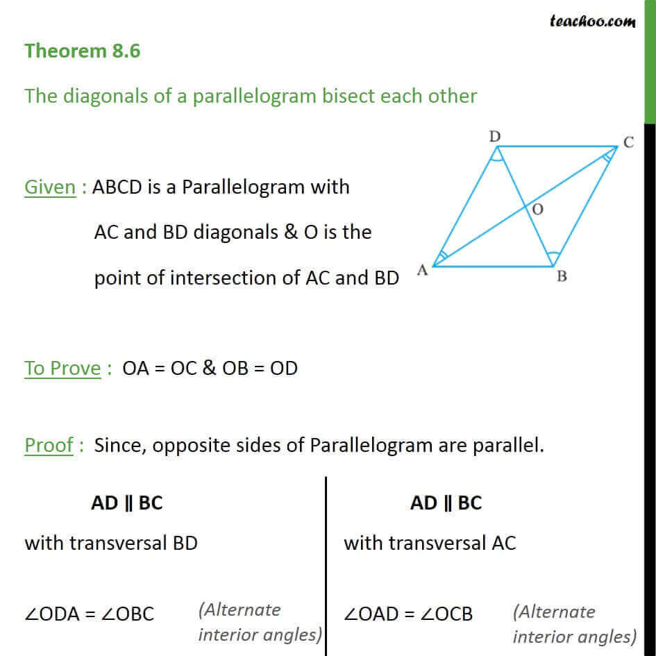 Theorem 8.6 - Class 9 - Diagonals of parallelogram bisect each other.jpg