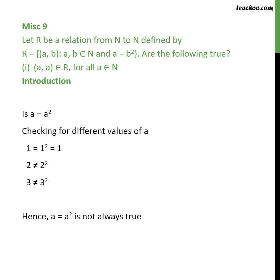 Misc 9 - R = {(a, b): a, b N and a = b2} - Chapter 2 Class 11 - Miscellaneous