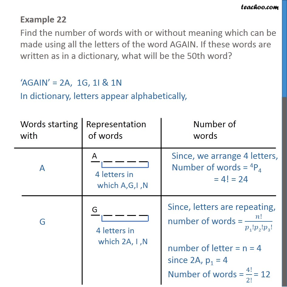 Example 22 - Find number of words of AGAIN. What will be 50th word - Permutation- repeating