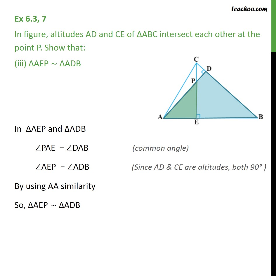Ex 6.3, 7 - Chapter 6 Class 10 Triangles - Part 3