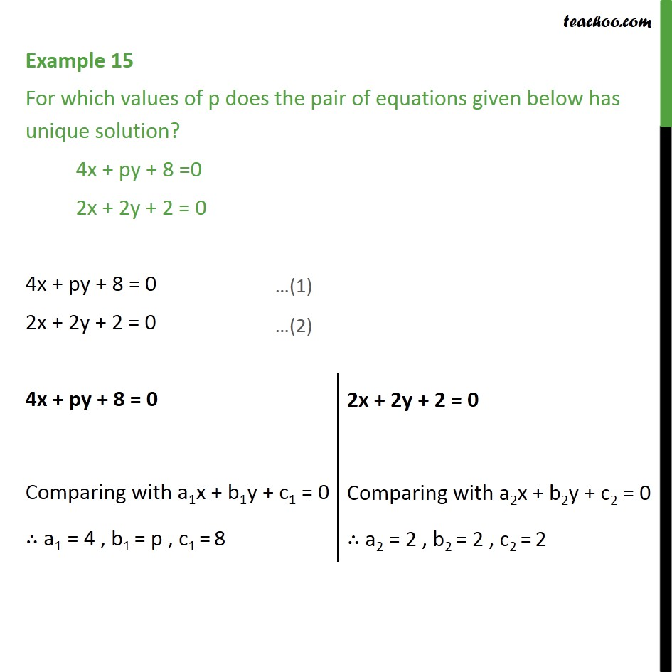 Example 15 - Find value of p for which 4x + py + 8 = 0 - Examples