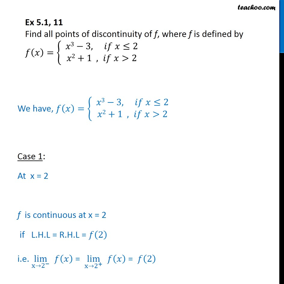 Ex 5.1, 11 - Find all points of discontinuity f(x) = { x3 - 3 - Ex 5.1