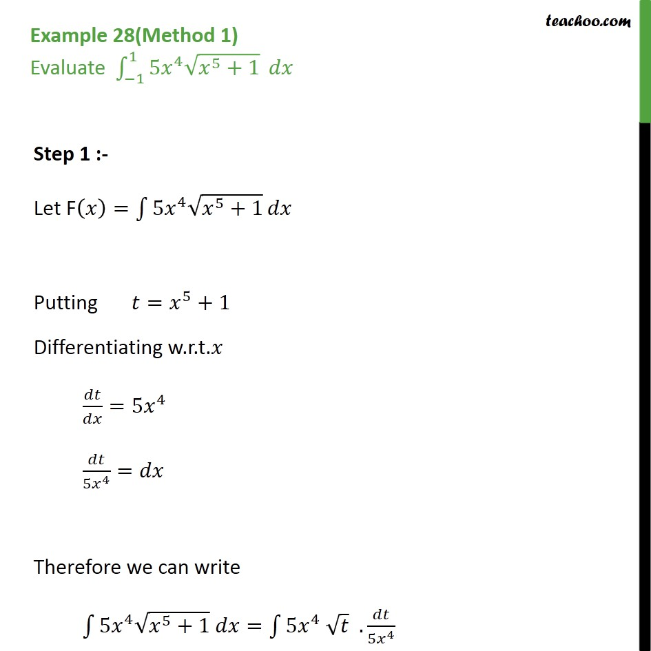 Example 28 - Evaluate integral 5x4 root x5 + 1 dx - Examples