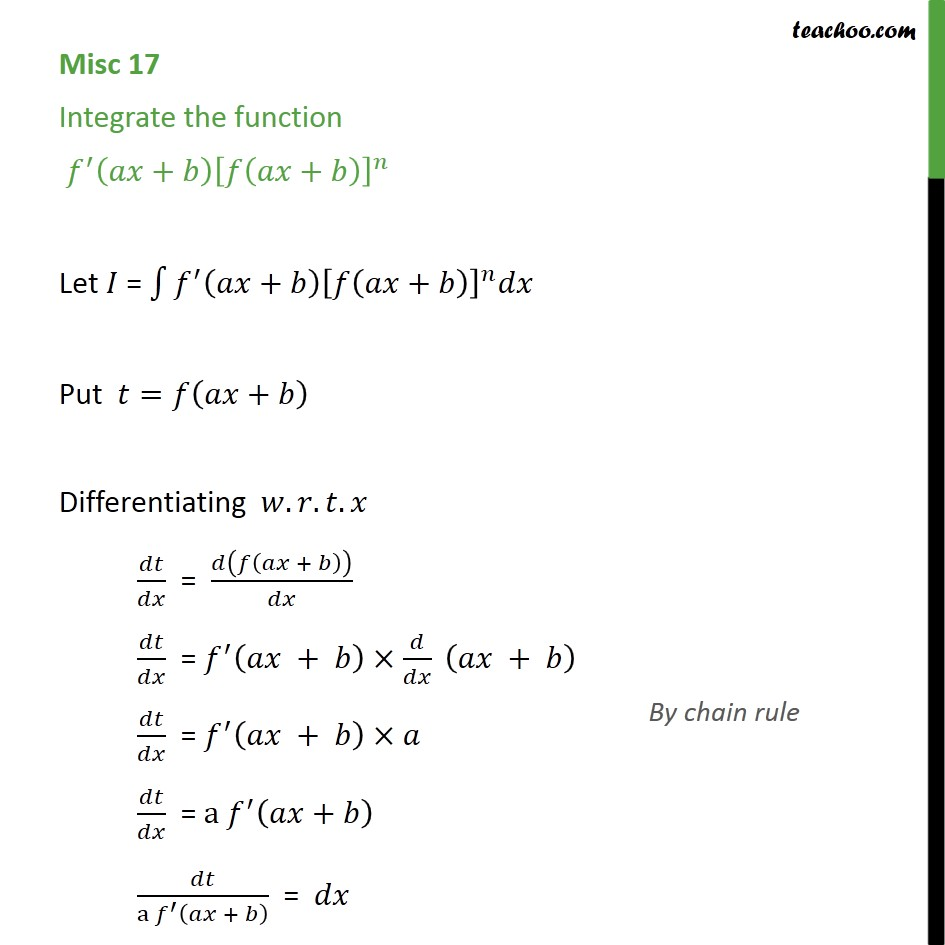 Misc 17 - Integrate f' (ax + b) [f(ax + b)]n - Class 12 - Integration by substitution - x^n