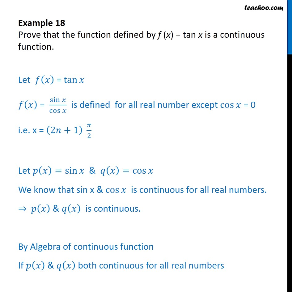 Example 18 - Prove that f(x) = tan x is a continuous function - Algebra of continous functions