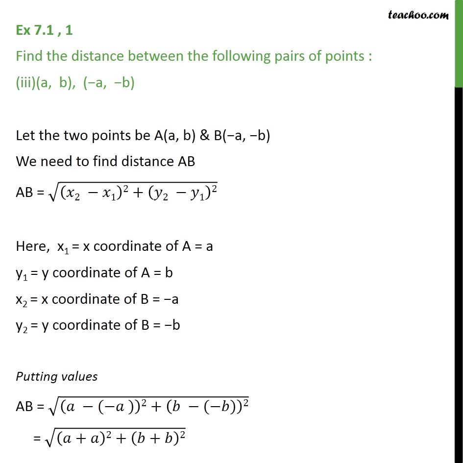 Ex 7.1, 1 - Chapter 7 Class 10 Coordinate Geometry - Part 5
