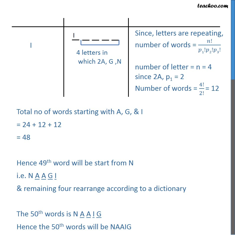 Example 22 Find Number Of Words Of Again What Will Be 50th Word