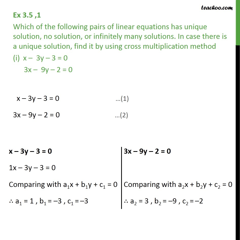 Ex 3.5, 1 - Which pair has unique, no solution or infinitely - Ex 3.5