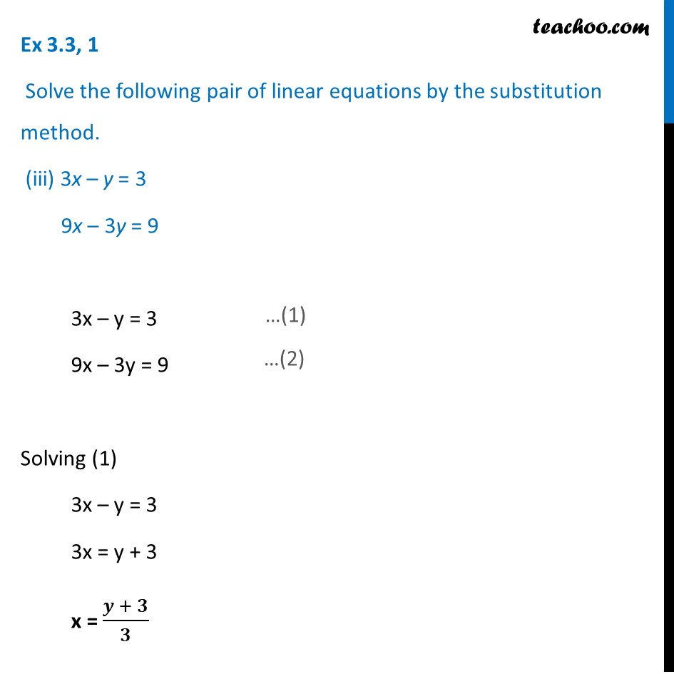 Ex 3.3, 1 - Chapter 3 Class 10 Pair of Linear Equations in Two Variables - Part 7