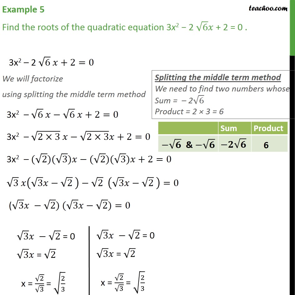 Example 5 - Find roots of 3x2 - 2 root6 x + 2 = 0 - Class 10 - Solving by Splitting the middle term - Equation given