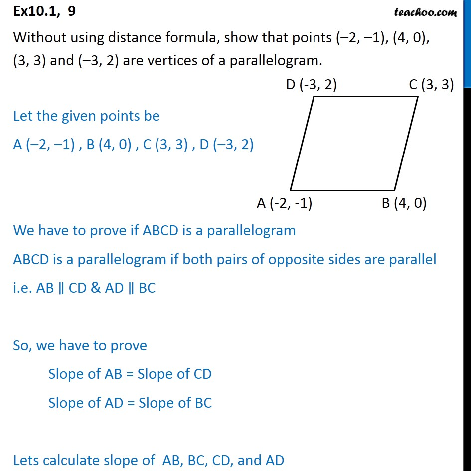 Ex 10.1, 9 - Without using distance formula, show that - Ex 10.1