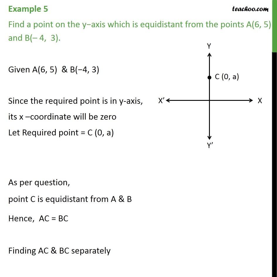 Example 5 - Find a point on y−axis which is equidistant - Examples