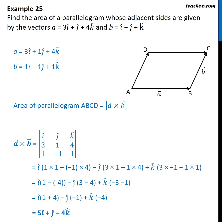 Example 25 - Find area of a parallelogram whose a = 3i + j + 4k - Vector product - Area