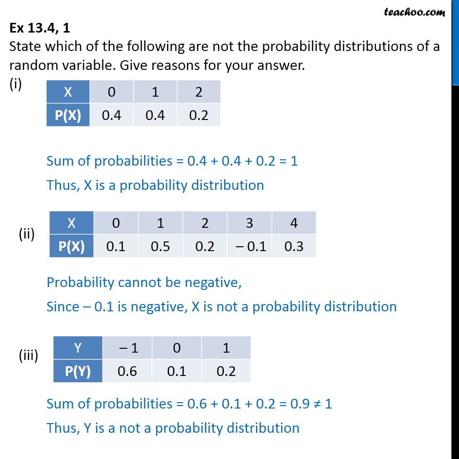 Ex 13.4, 1 - State which are not probability distributions - Probability distribution