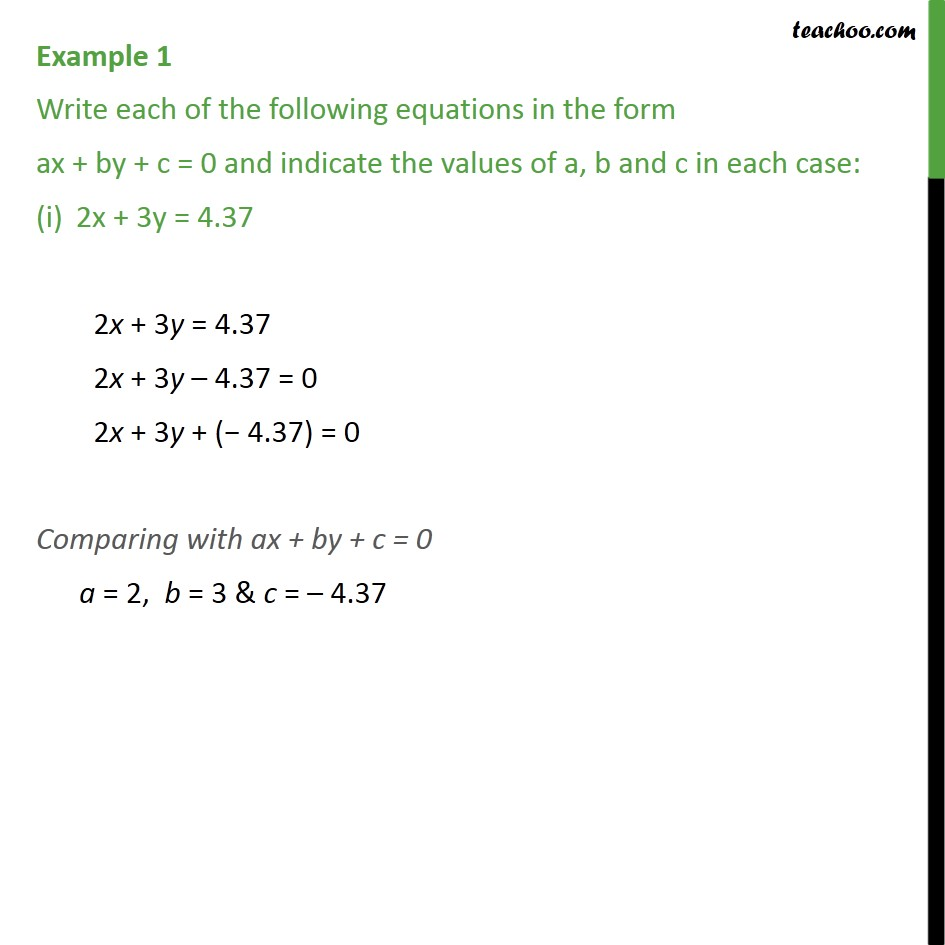 Example 1 - Write each of the following equations in form