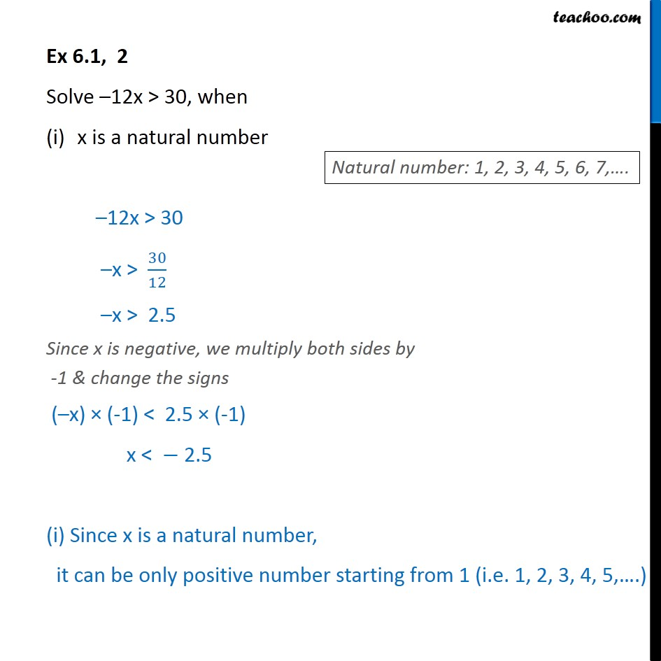 Ex 6.1, 2 Solve -12x > 30, x is natural number integer  - Solving inequality  (one side)