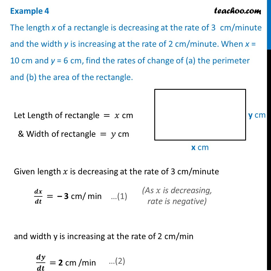 Example 4 - Length x of a rectangle is decreasing at rate