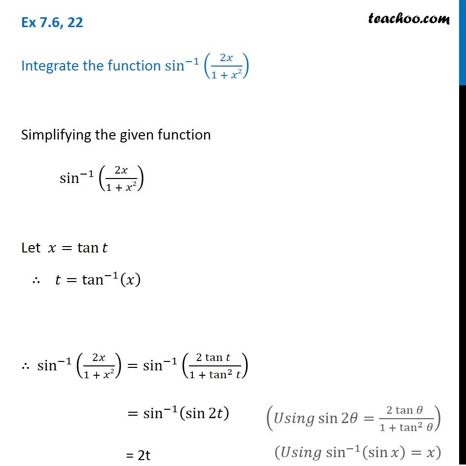 Ex 7.6, 22 - Integrate sin^-1 (2x / 1 + x^2) - Teachoo - Ex 7.6