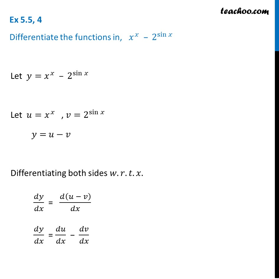 Ex 5.5, 4 - Differentiate x2 - 2sin x - Chapter 5 Class 12