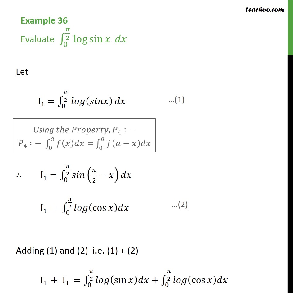 Example 36 - Evaluate definite integral log sin x dx - Definate Integration by properties - P4