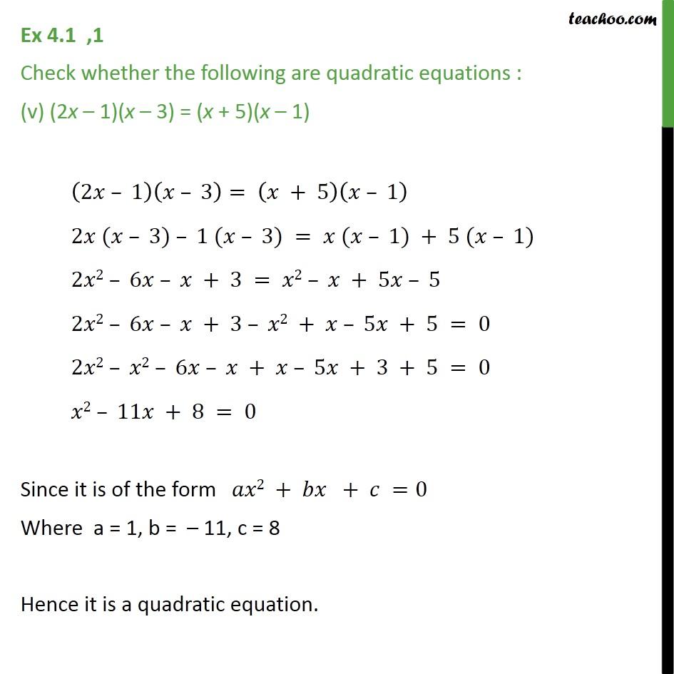 Ex 4.1, 1 - Chapter 4 Class 10 Quadratic Equations - Part 5