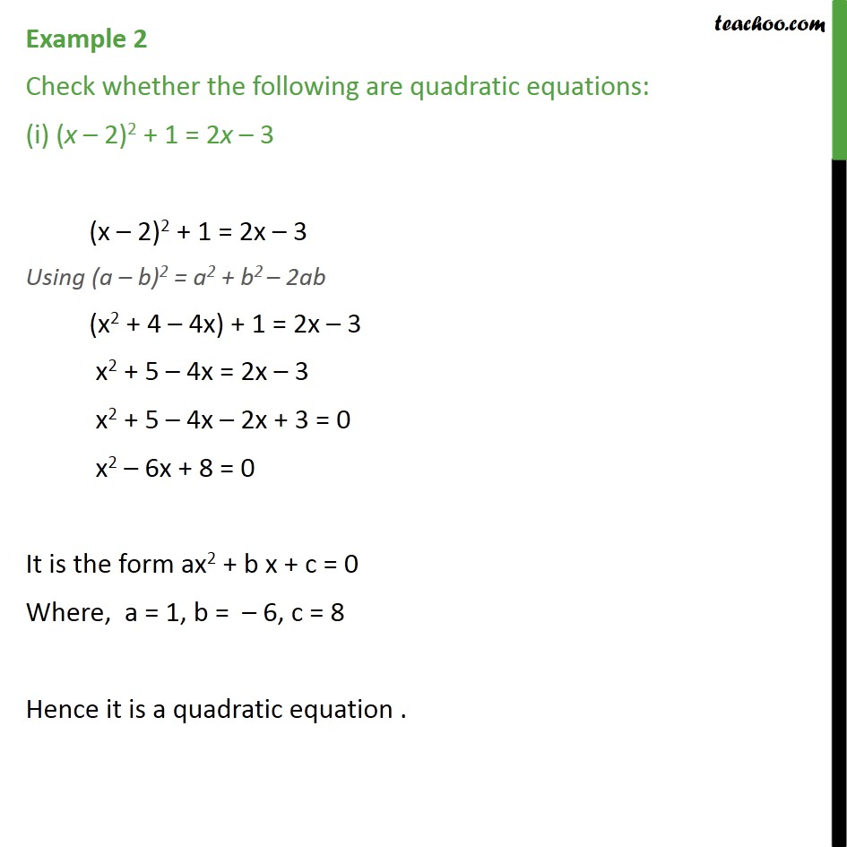 example 2 - check whether following are quadratic equations