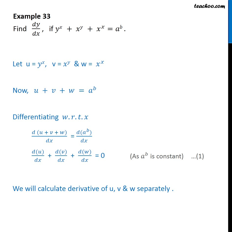 Example 33 - Find dy/dx, if yx + xy + xx = ab - Class 12 - Logarithmic Differentiation - Type 2