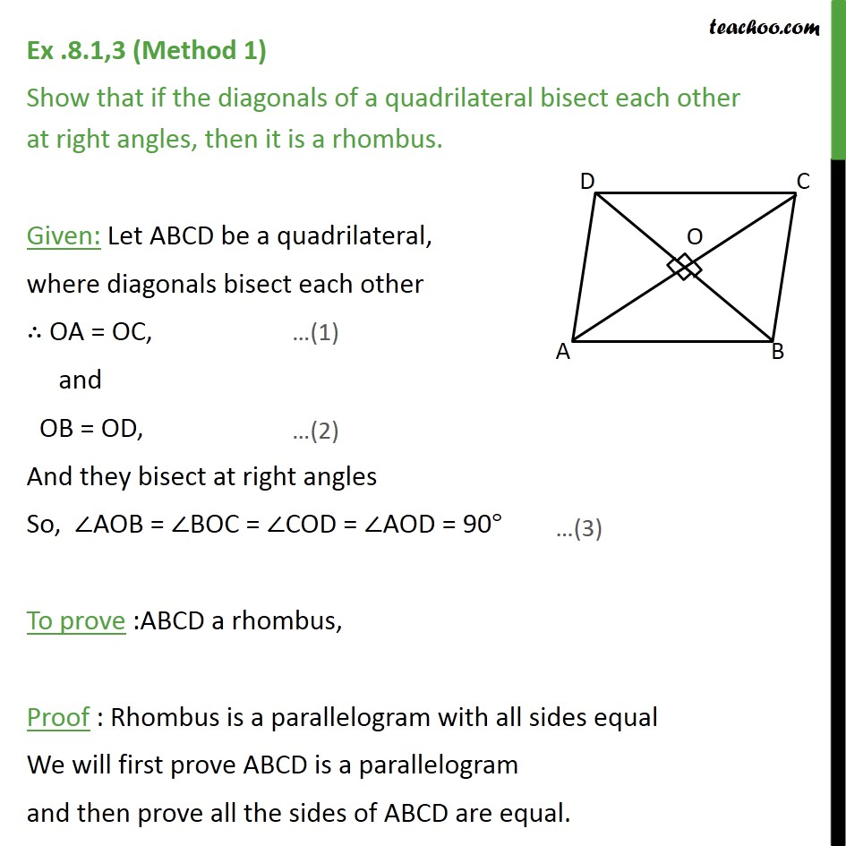 Ex 8.1, 3 - Show that if diagonals of a quadrilateral bisect - Diagonal of parallelogram