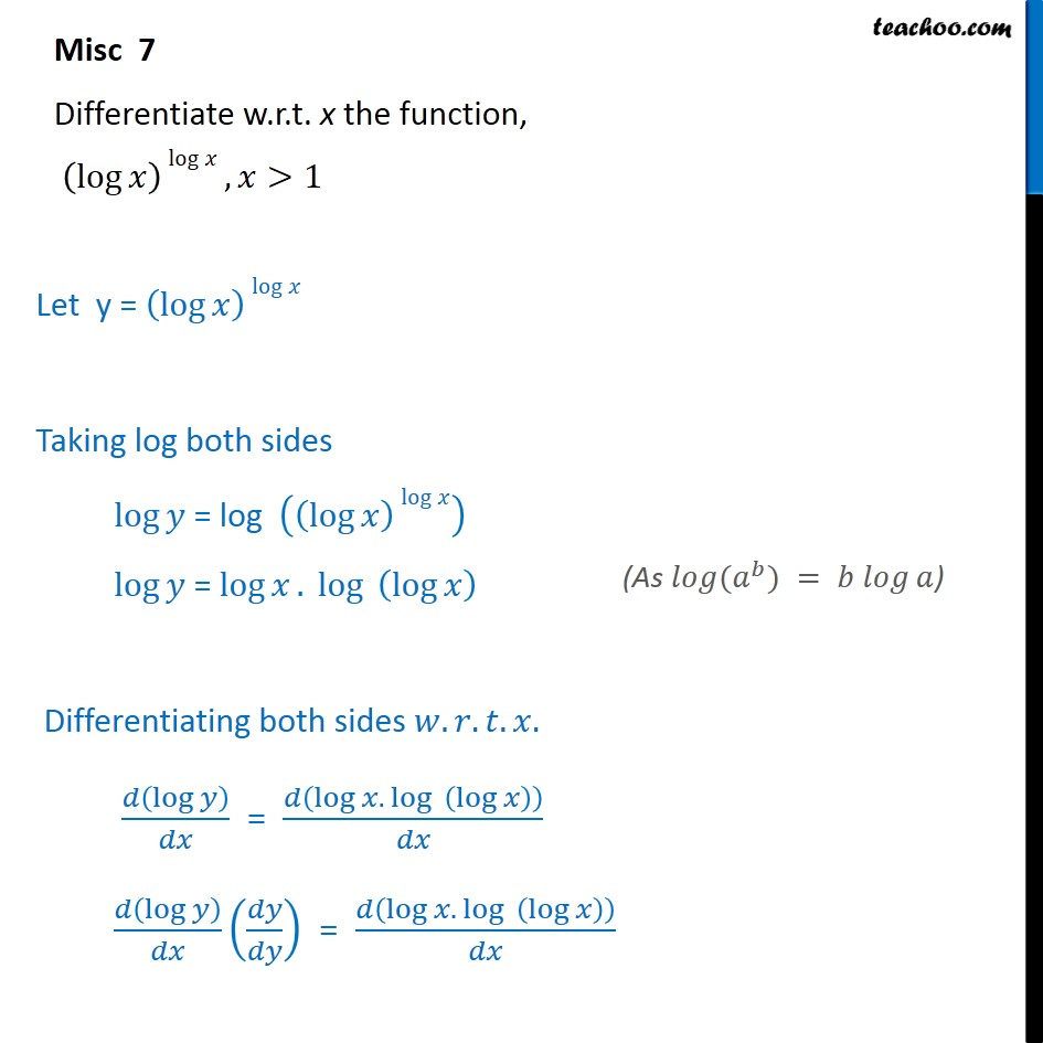 Misc 7 - Differentiate (log x) log x - Chapter 5 Class 12 - Miscellaneous