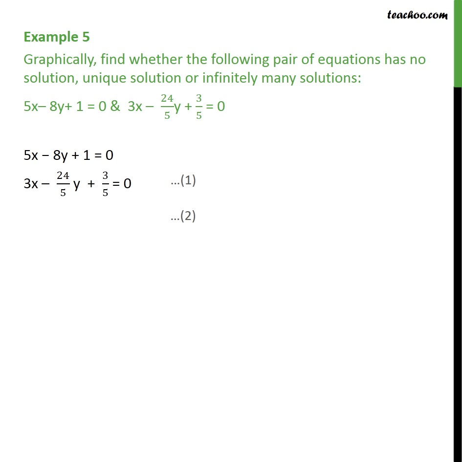 Example 5 - Graphically find whether no solution, unique - Solving equations graphically