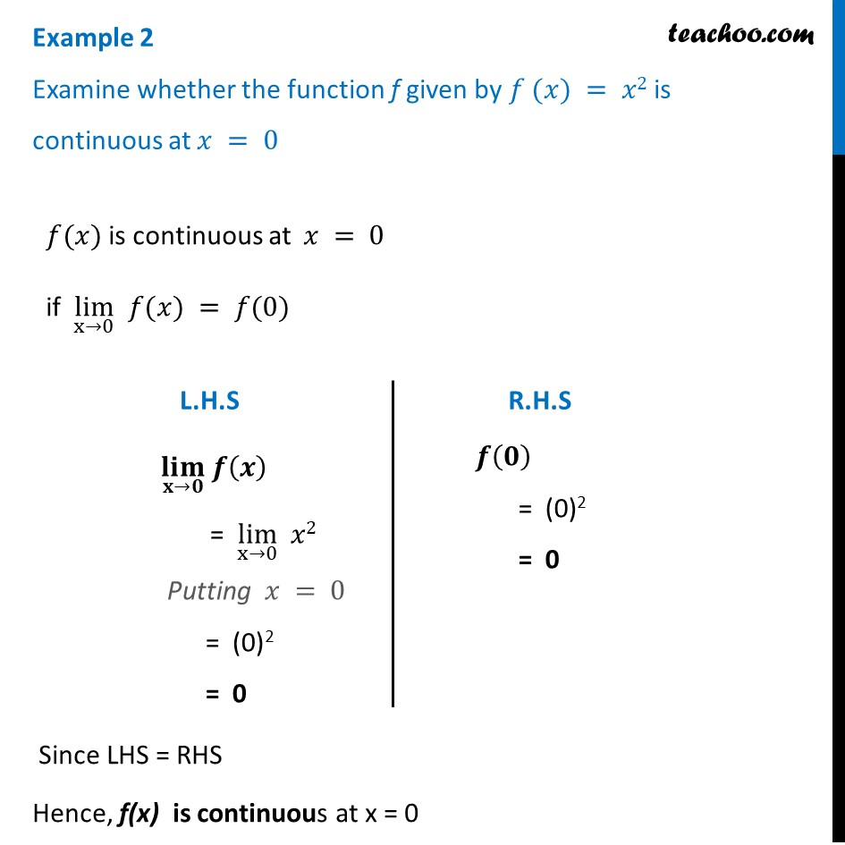 Example 2 - Examine whether f(x) = x2 is continuous at x = 0