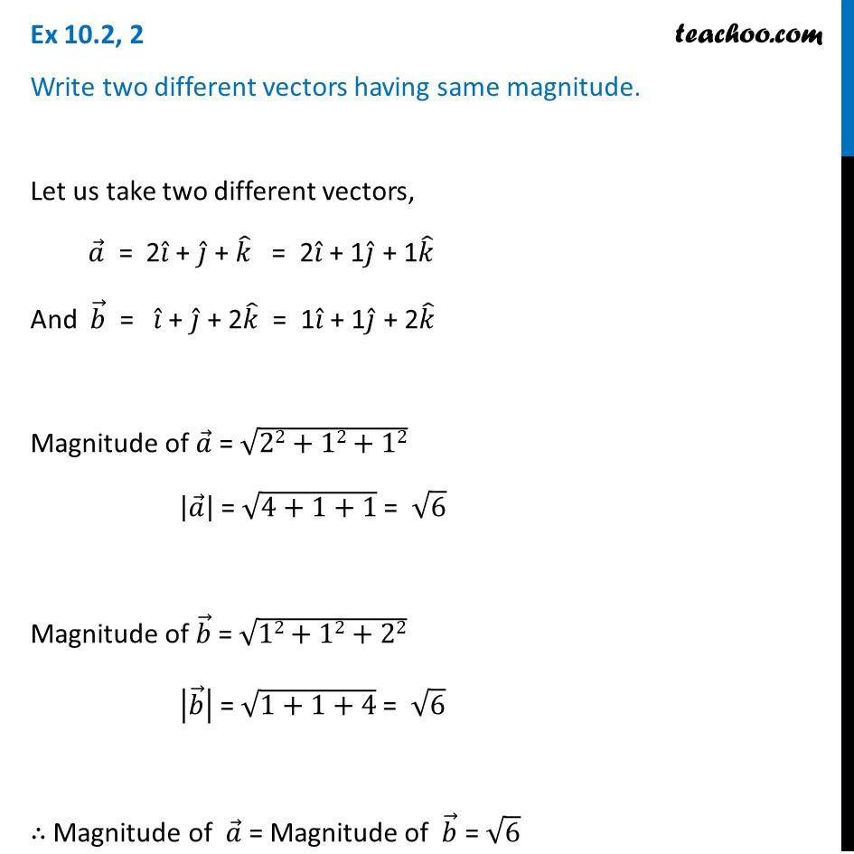 Write two different vectors having the same magnitude - Teachoo