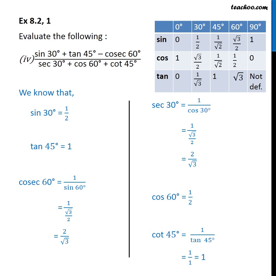 Solving Ex 8.2,1 (iv) sin 30 + tan 45 - cosec60 / sec 30 + cos 60 + cot 45 - with answer and method - Part 1