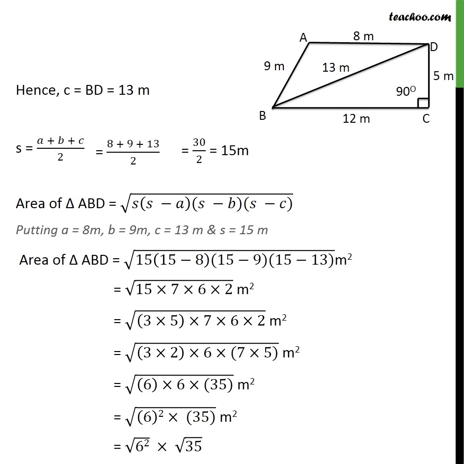 Ex 12.2, 1 - Chapter 12 Class 9 Herons Formula - Part 3