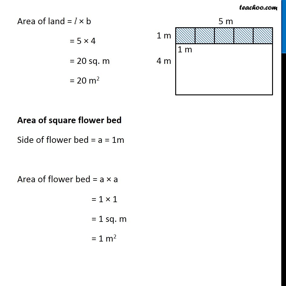 Ex 10 3, 9 - Five square flower beds each of sides 1 m are