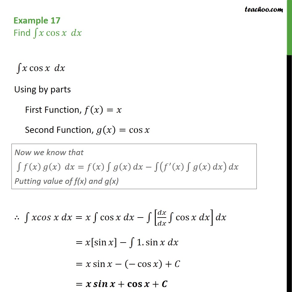 Example 17 - Find integral x cos x dx - Chapter 7 Class 12 - Examples
