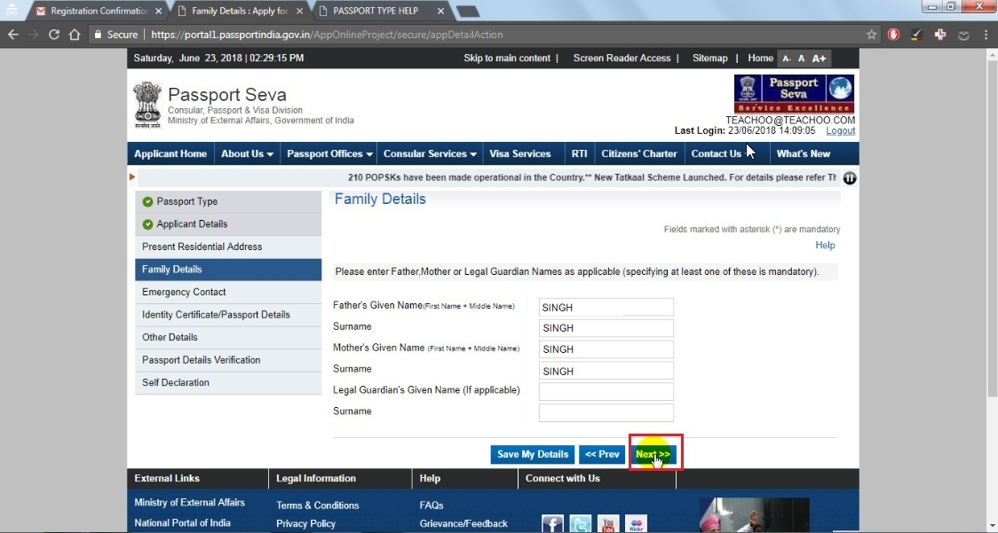 18. Fill family details then click next button.jpg