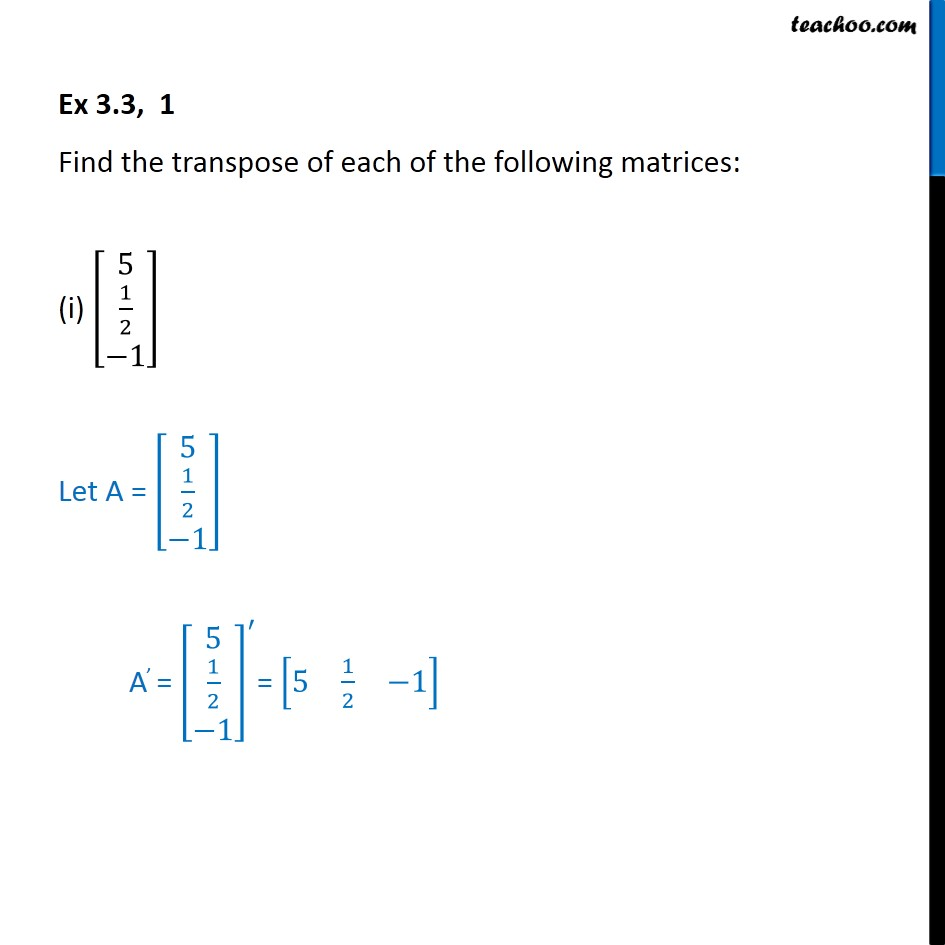 Ex 3.3, 1 - Find transpose of each of matrices - Class 12 - Transpose of a matrix