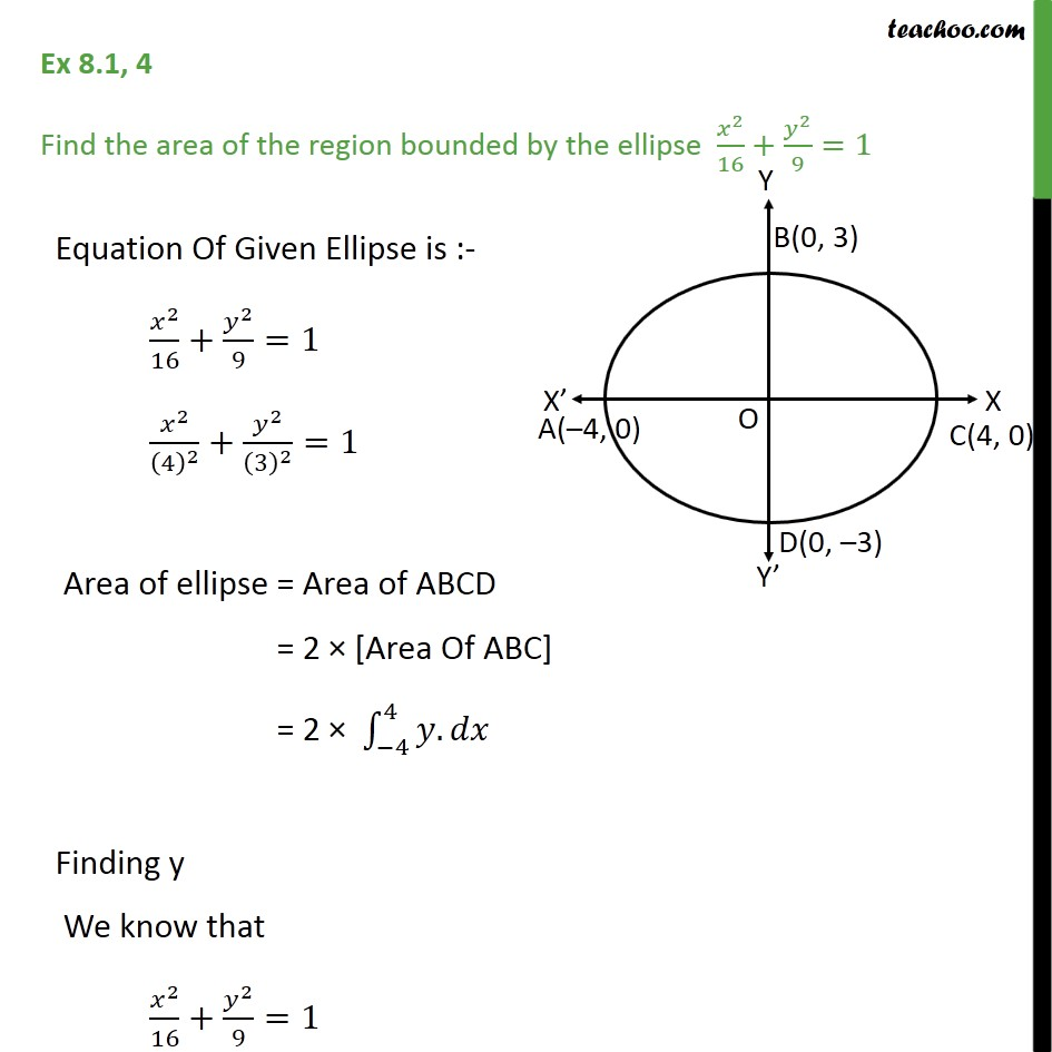 Ex 8.1, 4 - Find area bounded by ellipse x2/16 + y2/9 = 1 - Area under curve