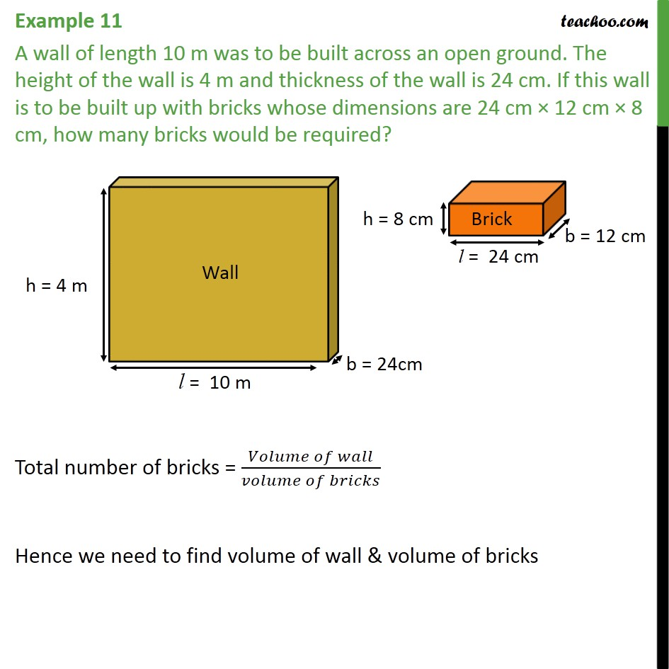 Example 11 - A wall of length 10 m was to be built across - Volume Of Cube/Cuboid