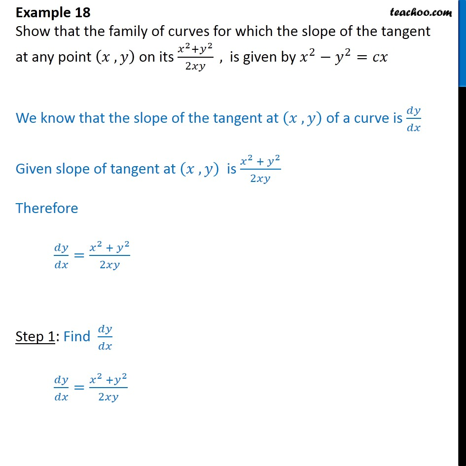Example 18  Show curves, slope of tangent is x2 + y2 / 2xy - Solving homogeneous differential equation